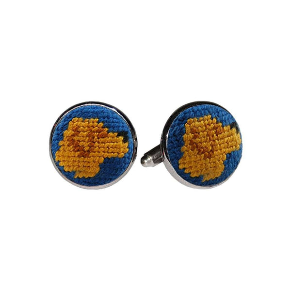Golden Retriever Needlepoint Cufflinks in Blueberry by Smathers & Branson