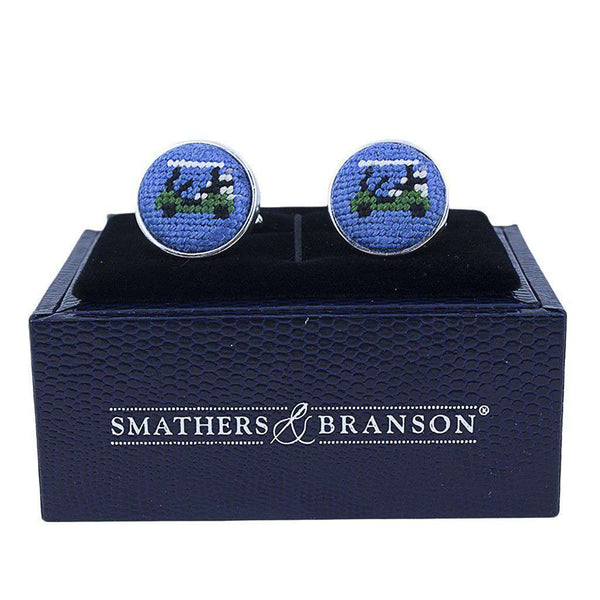 Cufflinks - Golf Cart Needlepoint Cufflinks In Blueberry Blue By Smathers & Branson