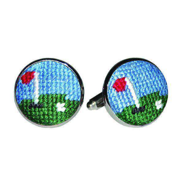 Cufflinks - Golf Green Needlepoint Cufflinks By Smathers & Branson