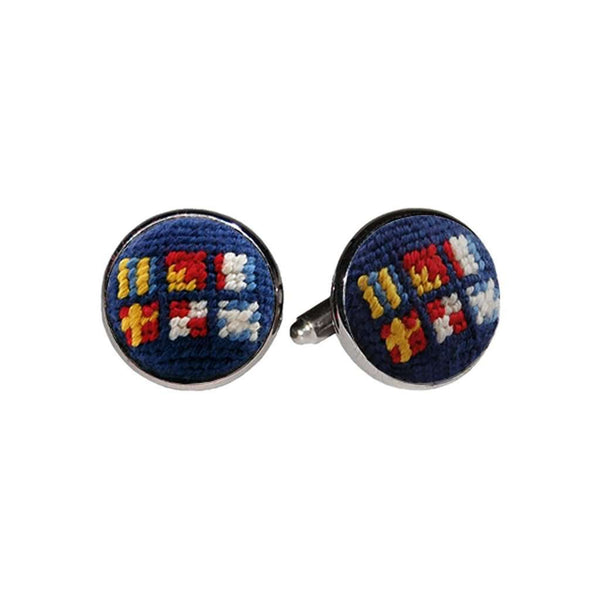 Got Rum Needlepoint Cufflinks in Classic Navy by Smathers & Branson