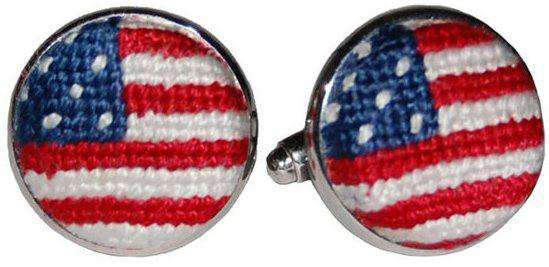 Cufflinks - Old Glory American Flag Needlepoint Cufflinks In Red, White And Blue By Smathers & Branson