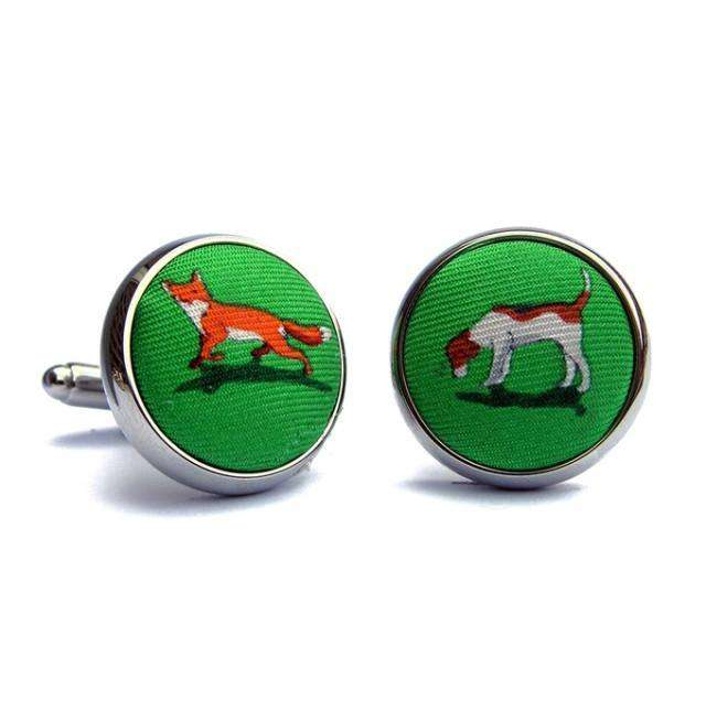 Cufflinks - On The Scent Fox And Hound Silk Fabric Cufflinks In Lime By Bird Dog Bay