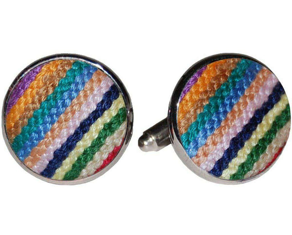 Parsons Stripe Needlepoint Cufflinks in Multicolor by Smathers & Branson
