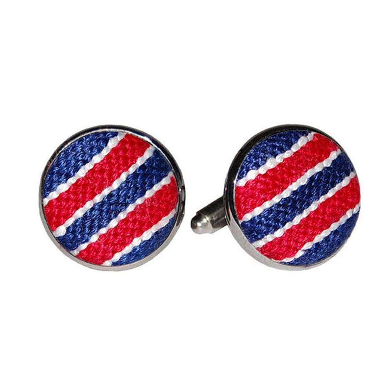 Patriotic Stripe Needlepoint Cufflinks by Smathers & Branson