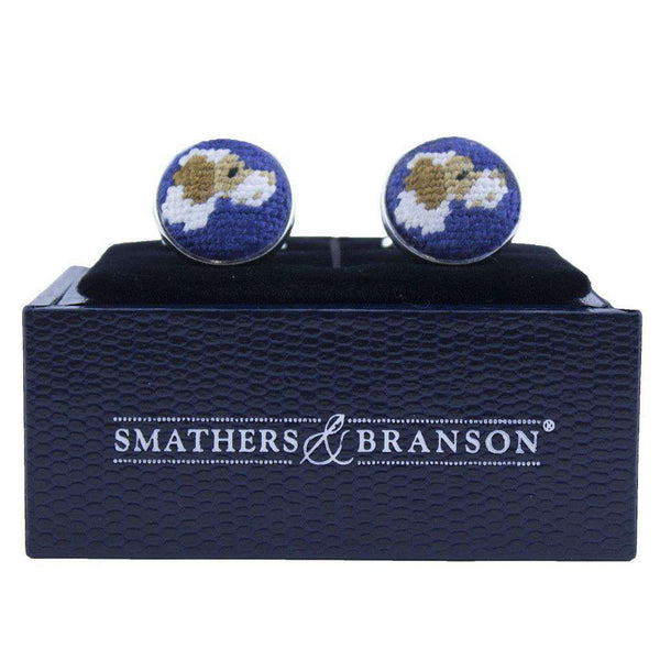 Cufflinks - Pointer Needlepoint Cufflinks In Blue By Smathers & Branson