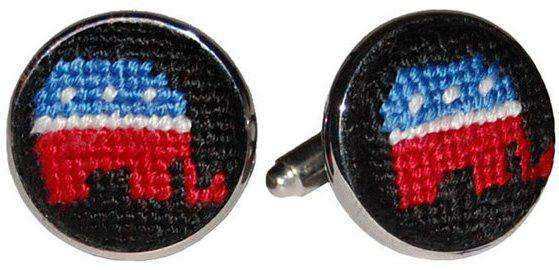 Cufflinks - Republican Needlepoint Cufflinks In Navy By Smathers & Branson