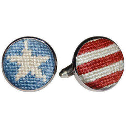 Stars and Stripes Needlepoint Cufflinks in Red, White and Blue by Smathers & Branson