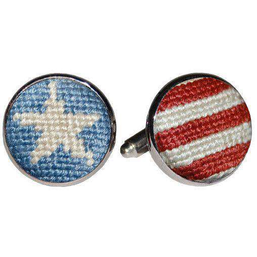 Cufflinks - Stars And Stripes Needlepoint Cufflinks In Red, White And Blue By Smathers & Branson