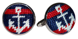 Cufflinks - Striped Anchor Needlepoint Cufflinks By Smathers & Branson