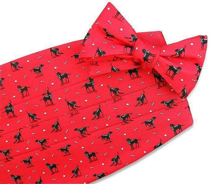 Cummerbund Sets - Black Lab Heaven Cummerbund Set In Red By Bird Dog Bay