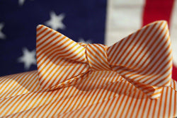 Cummerbund Sets - CG Stripes Signature Series Cummerbund And Bow Set In Orange By Collared Greens
