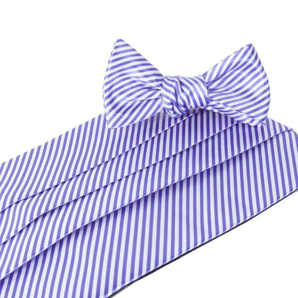 Cummerbund Sets - CG Stripes Signature Series Cummerbund And Bow Set In Purple By Collared Greens
