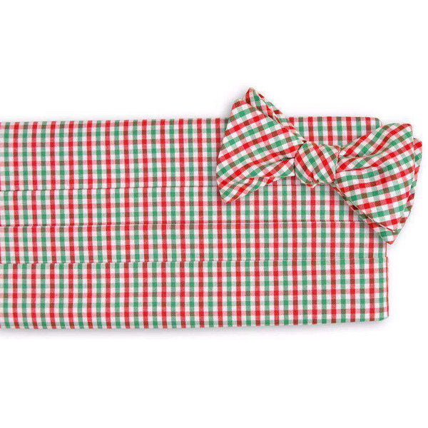 Christmas Tattersall Cummberbund Set in Green, Red and White by High Cotton