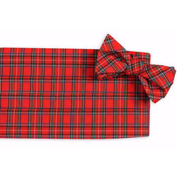 MacIntosh Tartan Cummberbund Set in Red by High Cotton
