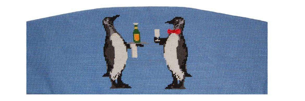 Penguins Needlepoint Cummerbund in Blue by Smathers & Branson