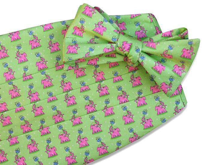 Cummerbund Sets - Pink Elephant Cummerbund Set In Green By Bird Dog Bay