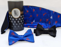 Reversible Cummerbund and Bow Set in Leaping Lobsters by Wonderbund - Country Club Prep