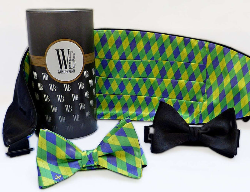 Reversible Cummerbund and Bow Set in Mardi Gras by Wonderbund - Country Club Prep