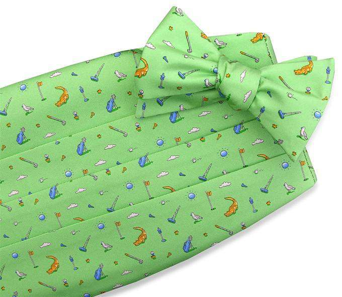 Cummerbund Sets - Tee Time Cummerbund Set In Green By Bird Dog Bay