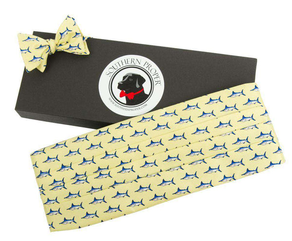 Yellow Marlin Cummerbund and Bow Set in Pale Yellow by Southern Proper