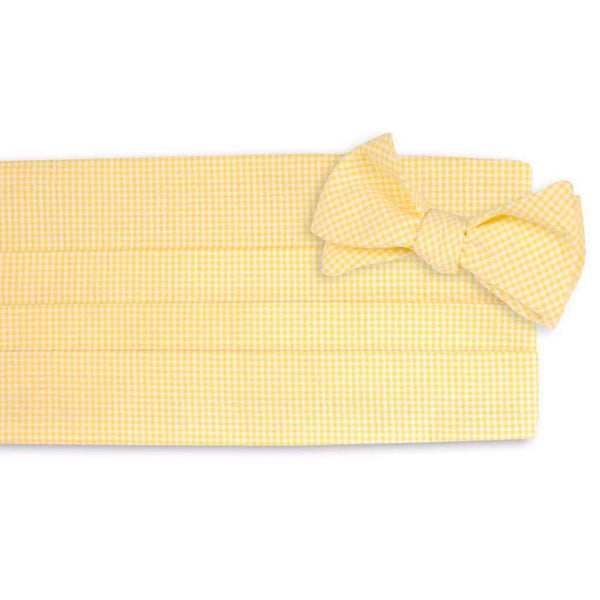 Yellow Seersucker Gingham Cummerbund Set by High Cotton