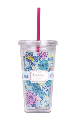 Cups & Glassware - Alpha Xi Delta Tumbler With Straw By Lilly Pulitzer - FINAL SALE