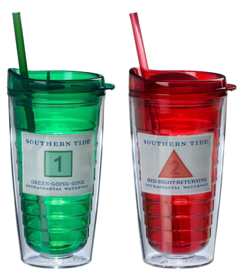 Cups & Glassware - Collectible Channel Marker Tumbler Set In Red & Green By Southern Tide