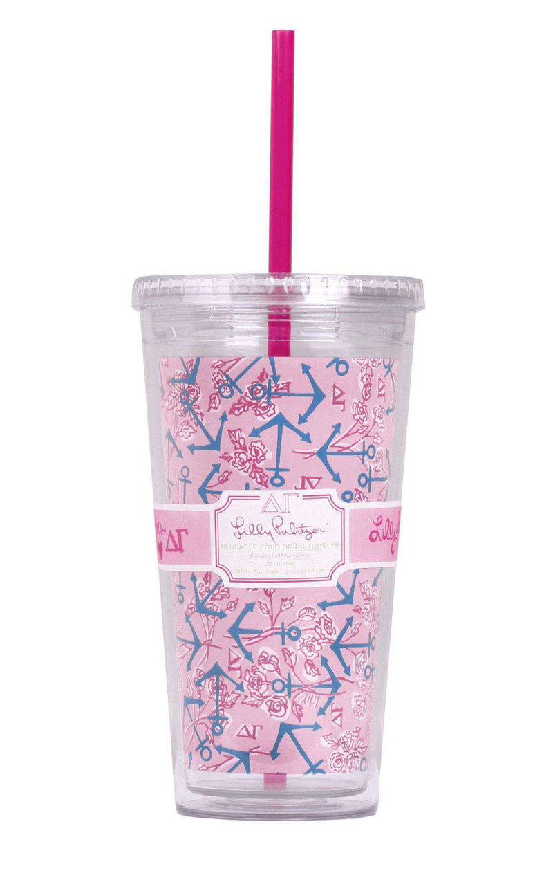 Cups & Glassware - Delta Gamma Tumbler With Straw By Lilly Pulitzer - FINAL SALE