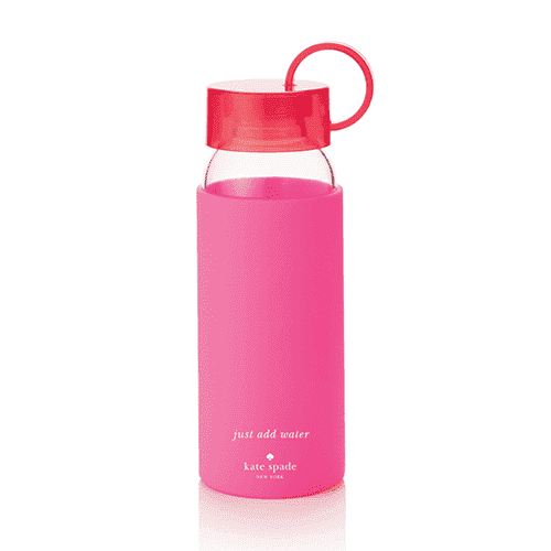 Glass Water Bottle in Pink and Red by Kate Spade New York