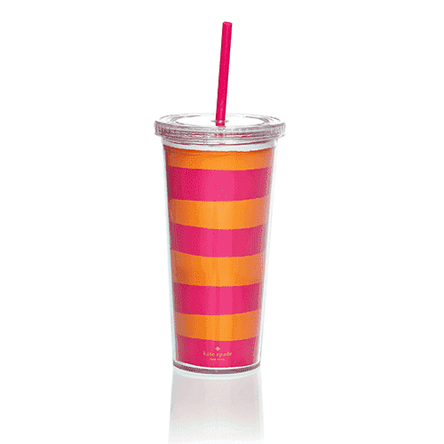 Cups & Glassware - Insulated Tumbler In Orange And Pink By Kate Spade New York