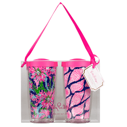 Cups & Glassware - Insulated Tumbler Set In Cute As Shell & Trippin' And Sippin Navy Colony By Lilly Pulitzer