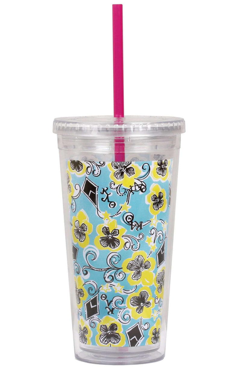 Cups & Glassware - Kappa Alpha Theta Tumbler With Straw By Lilly Pulitzer