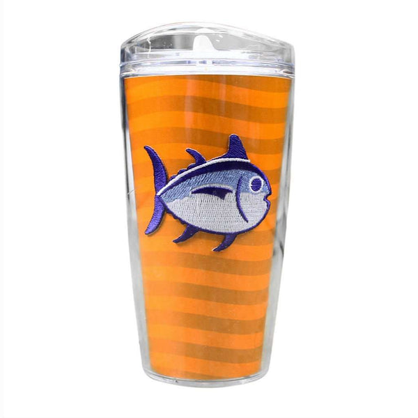 Team Colors 16oz Skipjack Tumbler in Rocky Top Orange and White by Southern Tide