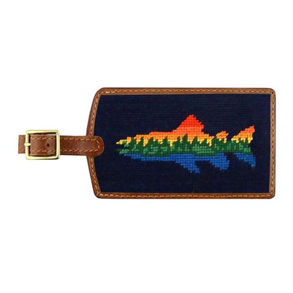 Smathers & Branson Lake Trout Needlepoint Luggage Tag in Dark Navy
