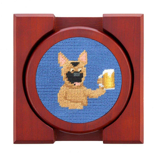 Country Club Prep Booze Hounds Needlepoint Coaster Set by Smathers & Branson