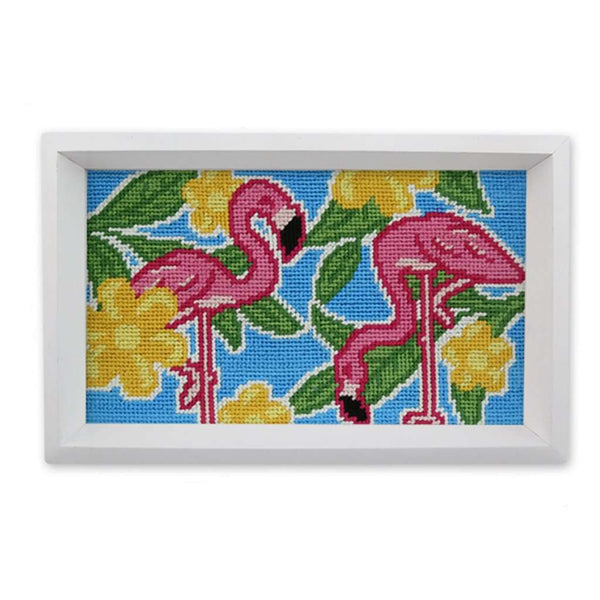 Pink Flamingo Needlepoint Valet Tray by Smathers & Branson