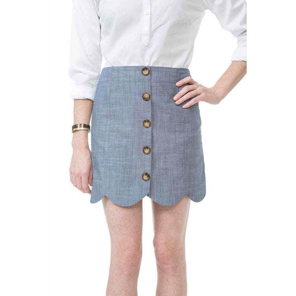 Dessie Skirt in Navy Chambray by Southern Proper  - 1