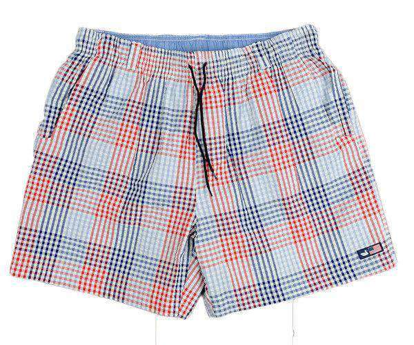 Dockside Swim Trunk in Navy and Red Seersucker Gingham by Southern Marsh  - 1