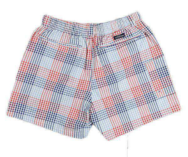 Dockside Swim Trunk in Navy and Red Seersucker Gingham by Southern Marsh
