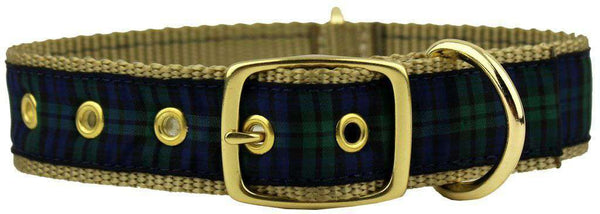 Dog Collars - Black Watch Plaid Dog Collar In Green Plaid By Country Club Prep