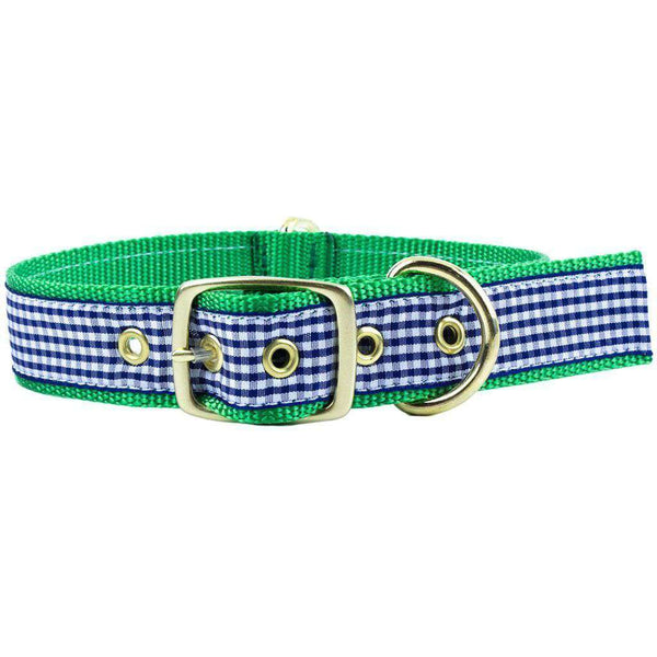 Dog Collars - Dog Collar In Navy Gingham Ribbon On Kelly Green Canvas By Country Club Prep