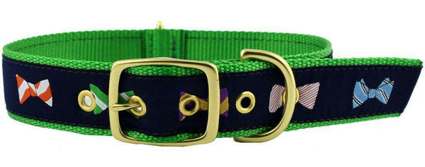 Dog Collars - Dog Collar In Navy Ribbon On Kelly Green Canvas With Bow Ties By Country Club Prep