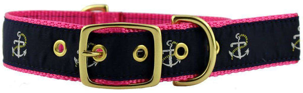 Dog Collars - Dog Collar In Navy Ribbon On Pink Canvas With Anchors By Country Club Prep