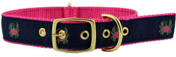 Dog Collars - Dog Collar In Navy Ribbon On Pink Canvas With Crabs By Country Club Prep