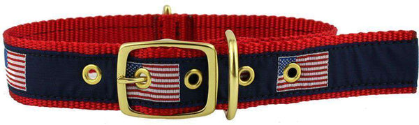 Dog Collars - Dog Collar In Navy Ribbon On Red Canvas With American Flags By Country Club Prep