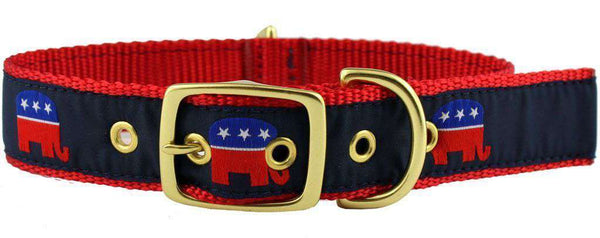 Dog Collars - Dog Collar In Navy Ribbon On Red Canvas With Elephants By Country Club Prep