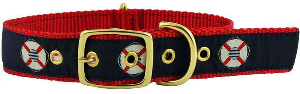 Dog Collars - Dog Collar In Navy Ribbon On Red Canvas With Life Savers By Country Club Prep
