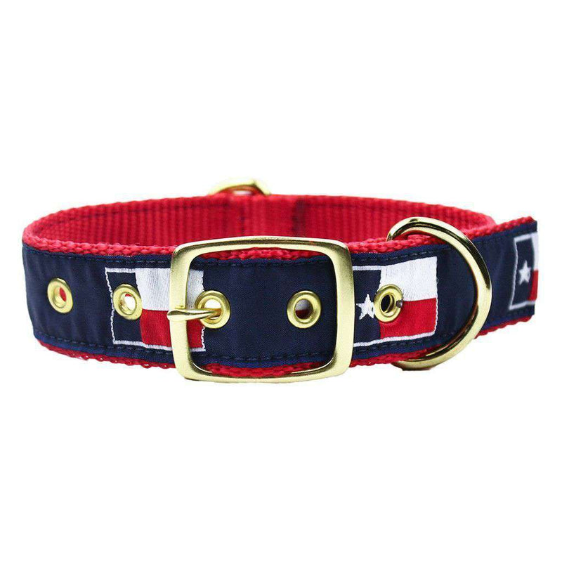Dog Collars - Dog Collar In Navy Ribbon On Red Canvas With Texas Flags By Country Club Prep