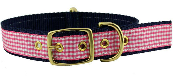 Dog Collar in Pink Gingham Ribbon on Navy Canvas by Country Club Prep