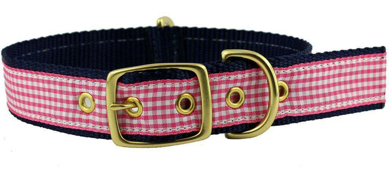 Dog Collars - Dog Collar In Pink Gingham Ribbon On Navy Canvas By Country Club Prep